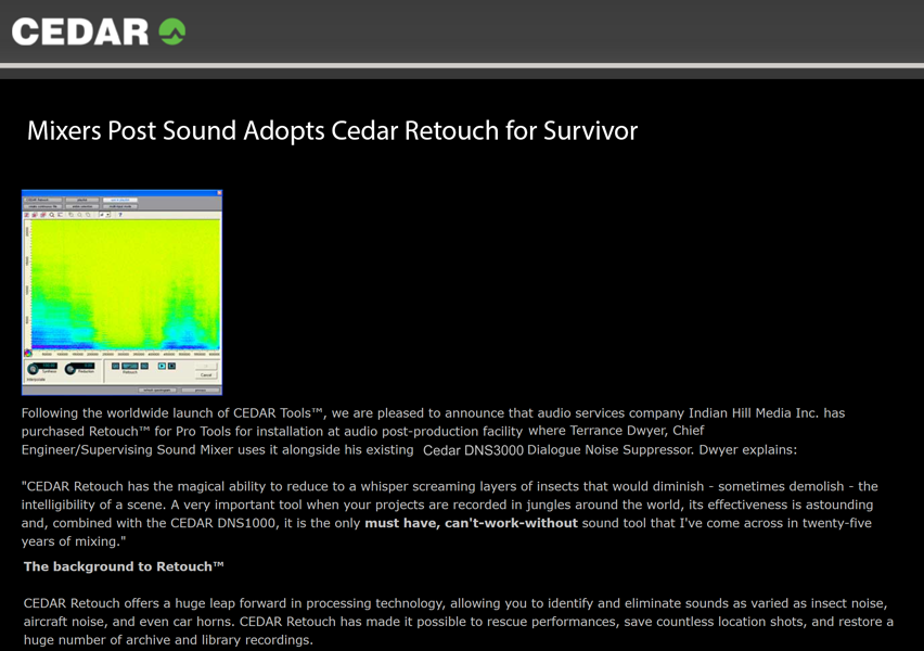 Cedar Audio story on Terry Dwyer ground-breaking use of Cedar Retouch in reality noise reduction.